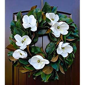 """Southern Magnolia Wreath with Blooms and Leaves for Front Door Rustic Look-22-24"""" Diameter 3"""