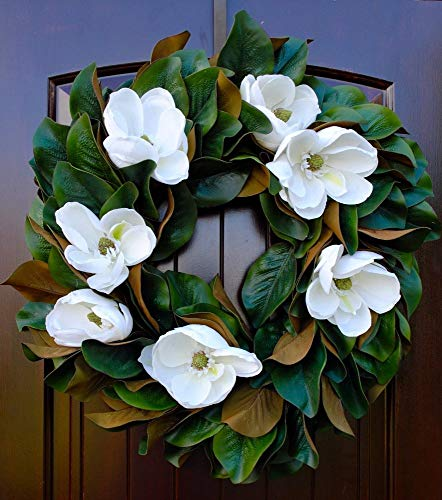 Southern Magnolia Wreath with Blooms and Leaves for Front Door Rustic Look-22-24