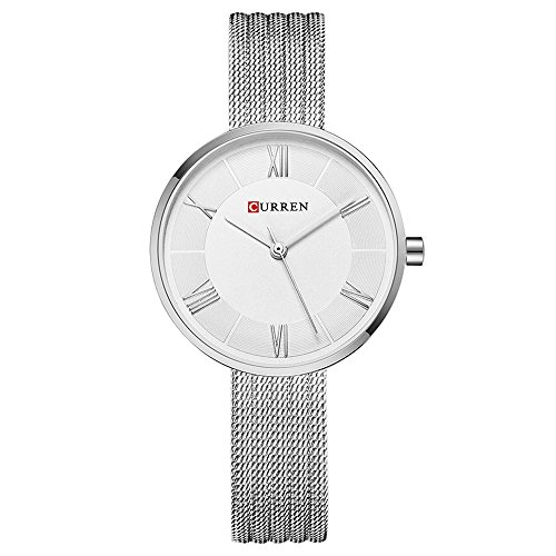 CURREN Watches Women Slim Sliver Mesh Stainless Steel Top Brand Luxury Casual Clock Ladies Wrist Watch Lady with box (silver white)