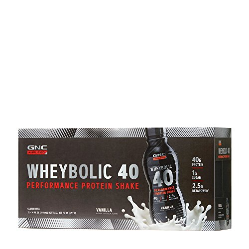 GNC AMP Wheybolic 40, Vanilla, 12 Bottles, Meal Replacement