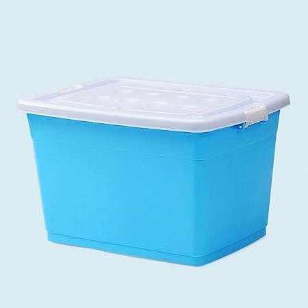 120L Caja de almacenaje plástica azul de la polea engomada de gran tamaño, caja de almacenaje de la caja del acabamiento: Amazon.es: Hogar