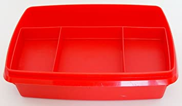 Tupperware Vintage Red Stow N Go Container With Tray NO LID