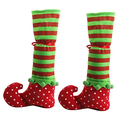 Winomo 2Pcs Christmas Decoration Elf Stocking Slipper Table Chair Leg Covers Caps