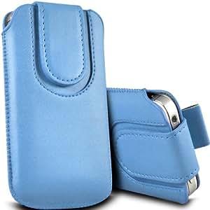 ONX3 HTC Desire 300 Leather Slip protectora magnética de la PU de cordón en la bolsa de la liberación rápida (Baby Blue)