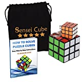 Sensei Cube Set with Best Selling FREE Keychain Cube & Pouch + Bonus Puzzle Cubes Solution Guide