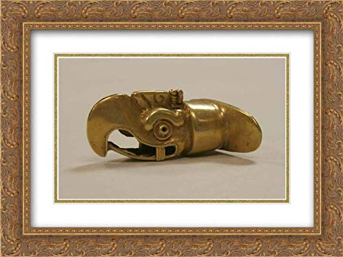 Head Labret - Aztec Culture - 24x18 Gold Ornate Frame and Double Matted Museum Art Print - Labret, Eagle Head