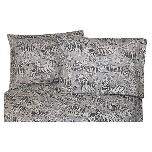 La Rochelle 10875 Heathered Zebra Flannel Sheet Set, Twin, Multi - Zebra Flannel Sheets