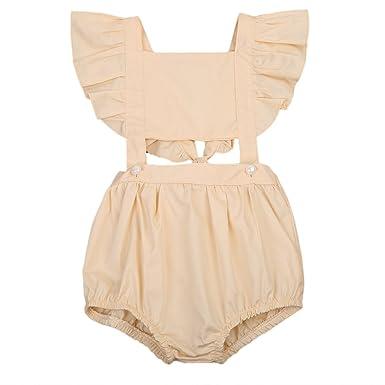 6c835a422728 Amazon.com  ONE S Baby Toddler Girls Cute Bodysuit Ruffle Bubble ...