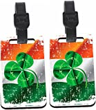 Rikki Knight Shamrock on Irish Flag Grunge Design Luggage Identifier Tag (1-sided) - with Strap Closure (Set of 2)