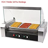 hot dog roaster machine - FCH 7 Roller Hot-dog Maker Grill Cooker Machine Stainless Steel Hot Dog Machine Commercial Cover Silver