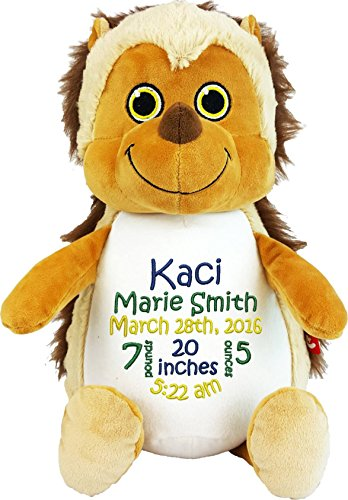 Personalized Stuffed Hedgehog with Embroidered Baby Block...