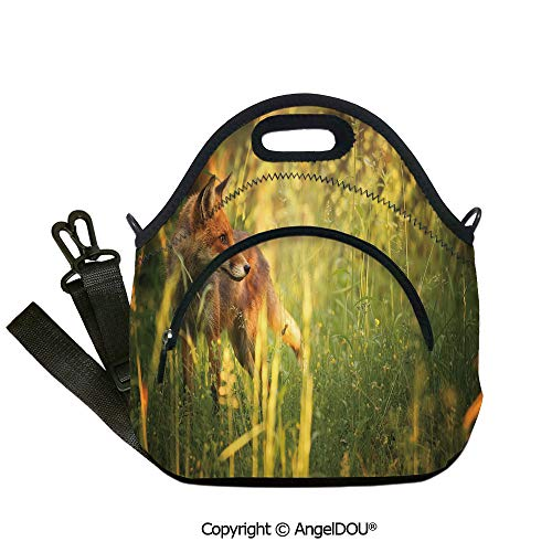 AngelDOU Fox Fashion shoulder Neoprene lunch bag Fox in the Summer Forest Fresh Meadow Grass Wilderness Vixen Mammal Nature for Adults Kids Boys Girls.12.6x12.6x6.3(inch) -