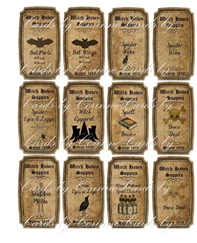 Halloween witchcraft potion spells 12 laminated bottle labels set 2