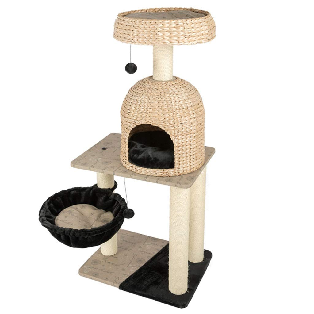 Brown 6045135cm Brown 6045135cm Cages Cat House Multi-Layer Cat Nest Solid Wood Cat Climbing Frame Cat Jumping Table Small Cat Tree Cat Supplies (color   Brown, Size   60  45  135cm)