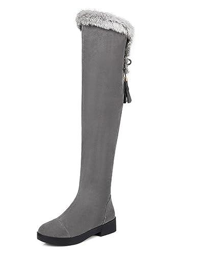 BIGTREE Oberschenkel Stiefel Damen Winter Warm Pelz Faux Wildleder Overknee Stiefel von Grau 35 EU ivJ4c0IbLy