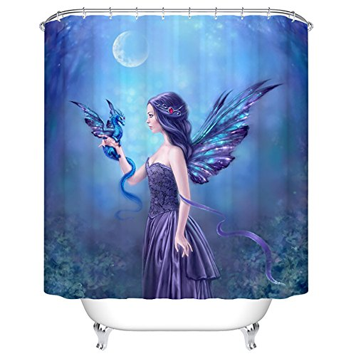ChezMax Gorgeous Fairy Lady with Cool Wings Print Waterproof Bathroom Shower Curtain with 12 Hooks 66