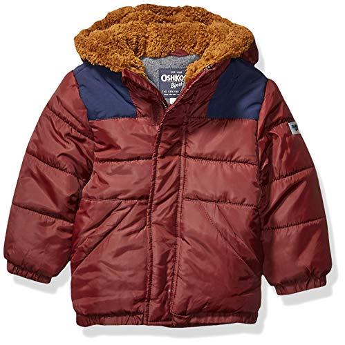 OshKosh B'Gosh Boys' Toddler Heavyweight Winter Jacket with Sherpa Lining, Sweet Raisin/Deep Navy, 2T