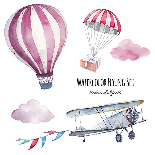 Boudoir Cushion (CC Wonderland Soft Pillow Cases Linen Pillow Covers with Invisible Zipper Throw Cushions Covers(1PC),18 Inch,Vintage Airplane,Flags Garland,Clouds,Hot Air Balloon and Parachute with Gift Box,Good Gift)