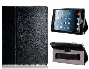 Protector del caso del tirón del cuero del Faux con correa de mano y soporte para el iPad 2, el nuevo iPad, iPad 4 (Negro)