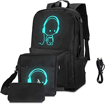 BUZIFU 3 en 1 Mochilas Escolares Mochila Luminosa con USB Puerto Cable, Bolsa de Escuela Gran Tamaño,Bandolera, Estuche de Lapices, Fácil de Llevar Todos Los Artículos, para Niños Chicos y Adultos: Amazon.es: