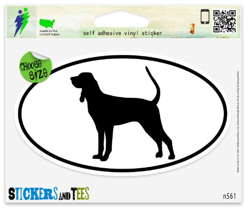 Tan Coonhound Sticker - Black And Tan Coonhound Dog Breed Shape Oval Car Sticker Indoor Outdoor 5