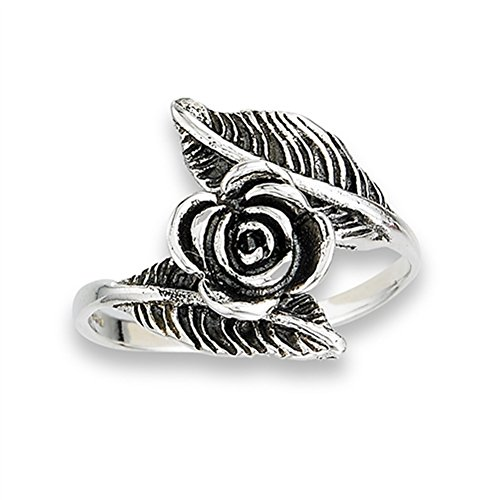 Oxidized Rose Flower Leaf Ring New .925 Sterling Silver Feather Band Size 6 ()