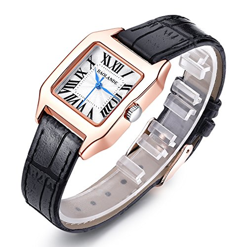 Women Gold Dial Leather Strap Watch Black - 7