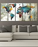 Extra Large Wall Art Push Pin World Travel Map Print Wall Art Canvas, Colorful World Map Print For Travel, Framed, Abstract Wall Art Print Hr93