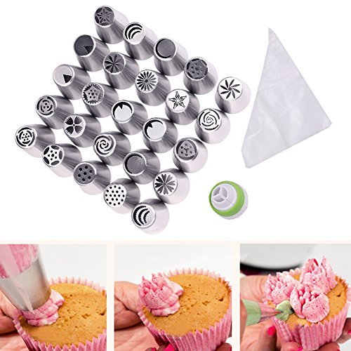 Russian Piping Tips 46pcs Set - 25 Stainless Steel Nozzles, 20 Disposable Pastry Bag, 1 Reusable Coupler - Cookies Cake Decorating Icing Baking Tools