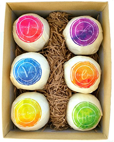Best Bath Bombs Gift Set-6 Bath Fizzies By NutriBeam-Natural Ingredients-Organic Shea Butter, Cocoa Butter, Essential Oils, Moisturize & Rejuvenate, Handmade in USA