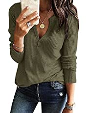 WELINCO Women's V Neck Waffle Knit Henley Tops Casual Long Sleeve Pullover Sweater Blouses