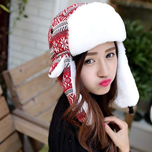 Winter Bomber Hats for Women Knitted Earflap Hats Snowflake Trooper Hats Unisex Russian Ushanka Hats