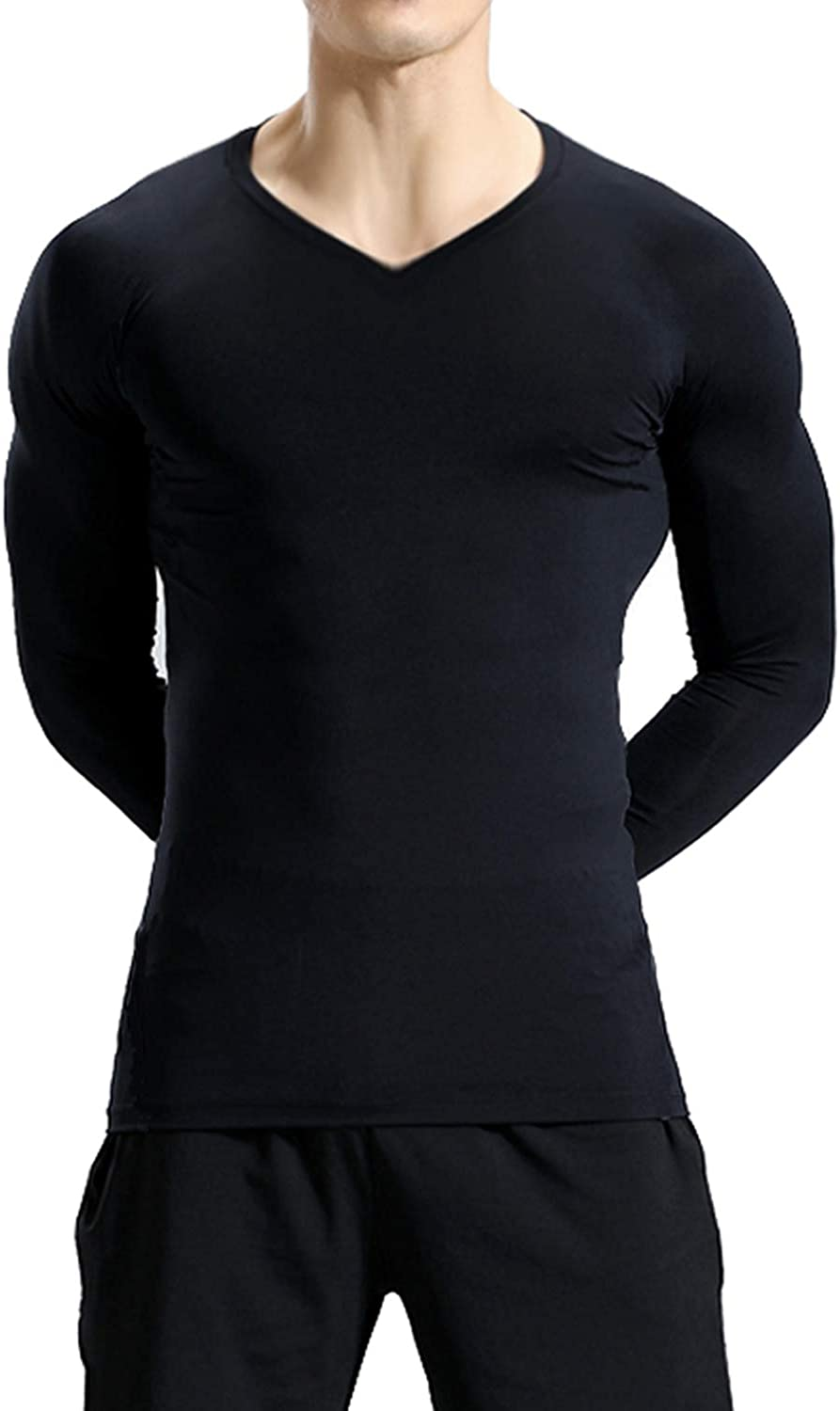 Lavento Mens 3 Pack Compression Shirts Baselayer Long Sleeve Dry Fit Undershirts