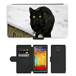 Super Stella Cell Phone Card Slot PU Leather Wallet Case // M00148672 Cat Black Kitty Domestic Feline Pet // Samsung Galaxy Note 3 III N9000 N9002 N9005
