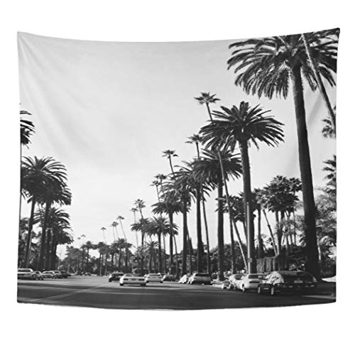 Semtomn Tapestry Artwork Wall Hanging City Los Angeles Black White Palm Trees Cool Vibe 50x60 Inches Tapestries Mattress Tablecloth Curtain Home Decor Print ()