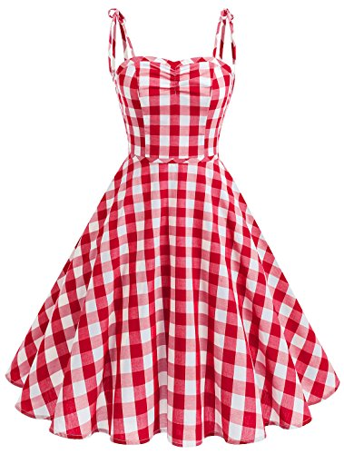 (Wedtrend Women's Vintage Polka Audrey Dress 1950s Plaids Cocktail Checkered Dress with Pockets WTP10006RedXL)