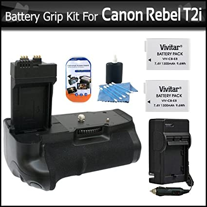 Photive Ph Bge8 Battery Grip With 2 Extra Replacement Lp E8 Batteries 1 Hour Rapid Charger For Canon Rebel T5i T4i T2i Eos 550d T3i Digital Slr