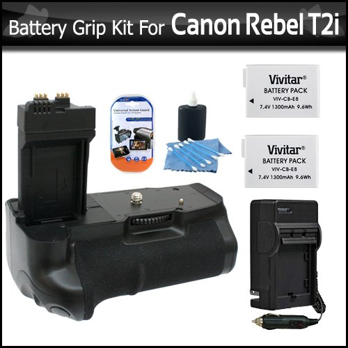 Photive PH-BGE8 Battery Grip With 2 Extra Replacement LP-E8 Batteries + 1 Hour Rapid Charger For Canon Rebel T5i, T4i, T2i/ EOS 550D T3i Digital SLR