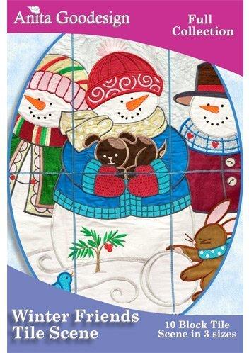 Anita Goodesign Winter Friends Tile Scene