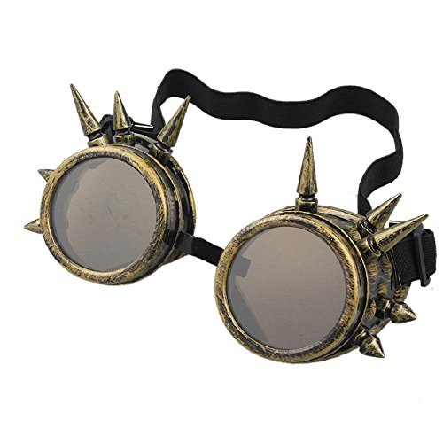 [Agile-shop Spiked Retro Vintage Victorian Steampunk Goggles Glasses Welding Cyber Punk Gothic] (Halloween Goggles)