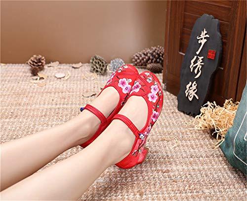 Donna Ricamate scarpe Donna scarpe Primavera Ballo Da Di Donna Stoffa Estate Ricamate Red Scarpe Ed YwqT0U