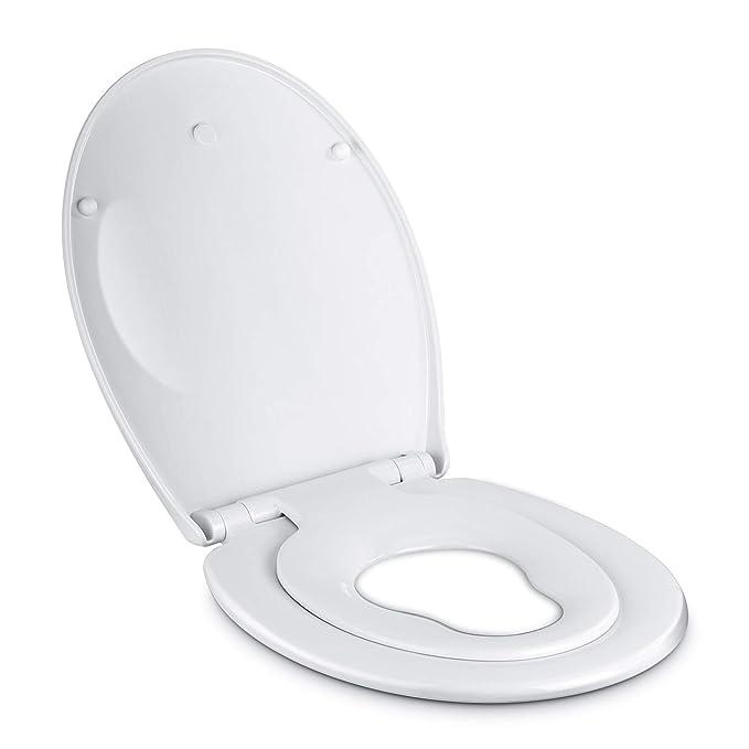Amzdeal WC Sitz Family mit Absenkautomatik, Toilettendeckel mit Kindersitz, Familien Klodeckel WC Deckel Toilettensitz mit la