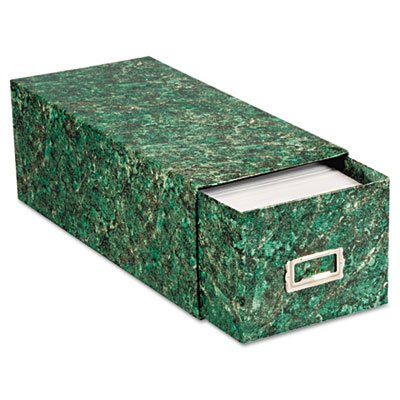 Oxford Card File with Pull Drawer Holds 1,500 4 x 6 Cards, Green Marble Paper Board