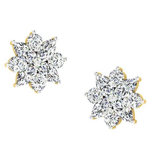 Libertini Boucle d'oreille argent 925 plaque or Jaune serti de Diamant en forme de Fleur