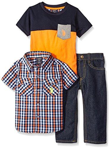 U.S. Polo Assn. Baby Boys' Plaid Sport Shirt, Pocket T-Shirt, and Denim Jean Set