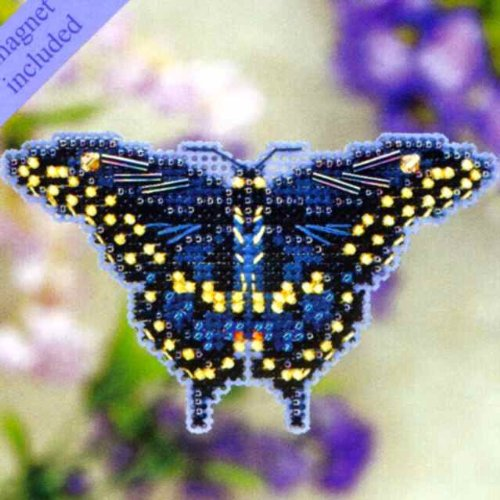 Black Swallowtail Butterfly Beaded Counted Cross Stitch Ornament Kit Mill Hill 2011 Spring Bouquet (Beaded Butterflies Kit)