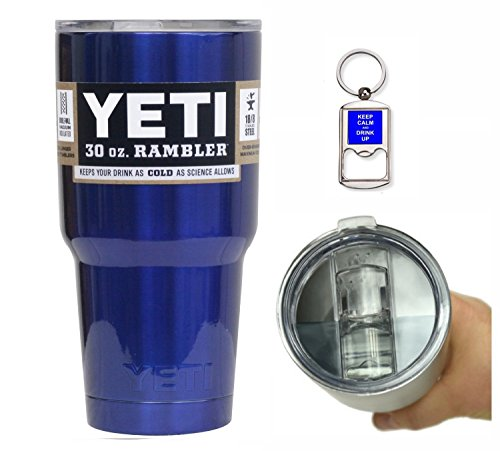 YETI Coolers 30 Ounce (30oz) (30 oz) Custom Rambler Tumbler Cup Mug with Exclusive Spill Resistant Lid (Intense Blue)