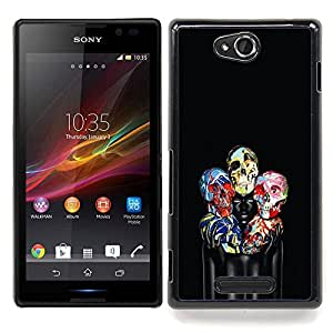 - Skull Floral Black Paint Woman Deep - - Snap-On Rugged Hard Cover Case Funny HouseFOR Sony Xperia C S39h C2305