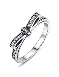 Presentski New Bow 925 Sterling Silver Ring for Girlfriend