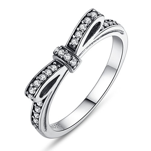 BAMOER 925 Sterling Silver Sparkling CZ Gemstone Bow Promise Ring Silver Infinity Romantic Love Jewelry for Women (9) (Stackable Ring Gemstone)